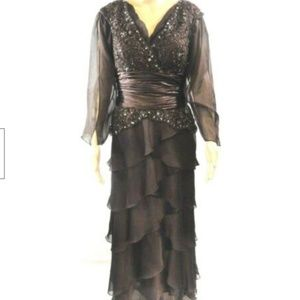 Jovani Gown 6 Brown Long Exclusive Embellished